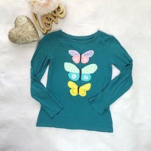 Girls long sleeve t-shirt Green with Butterflies